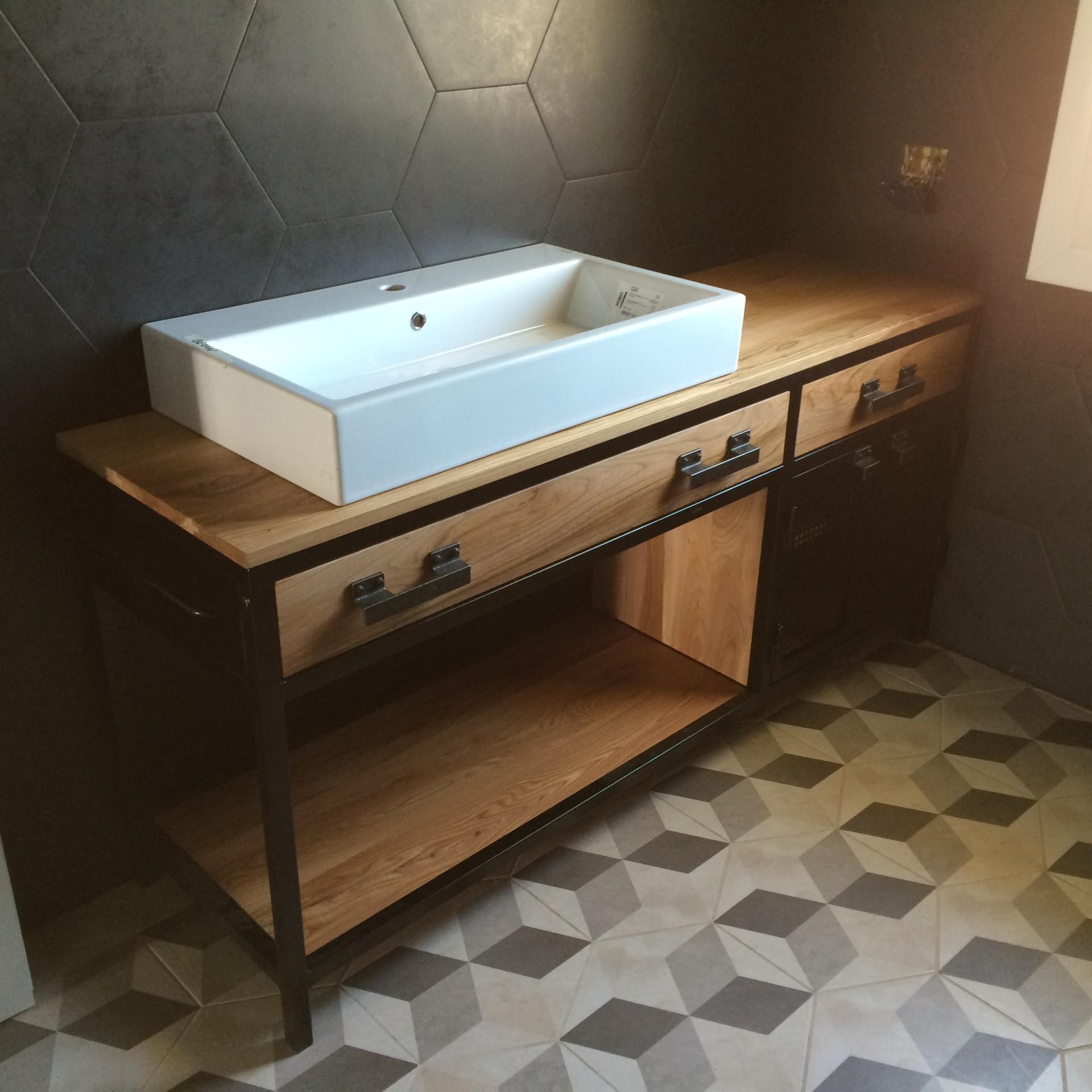 Mobile per bagno in legno e ferro art 446 fadini mobili cerea verona - Mobile legno bagno ...